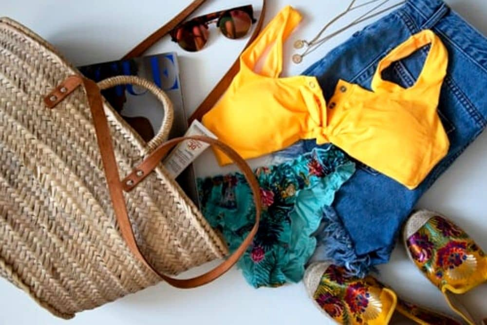 A basket bag with clothes